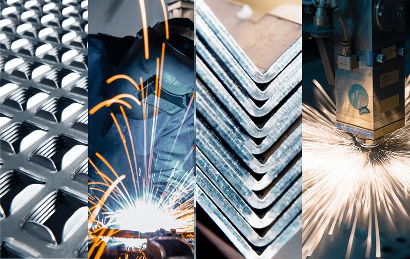 image showing the services offered by Vomak Industries which include perforated metal sheeting, welding, sheet metal fabrication, cnc bending, laser cutting and sheet metal manufacturing.
